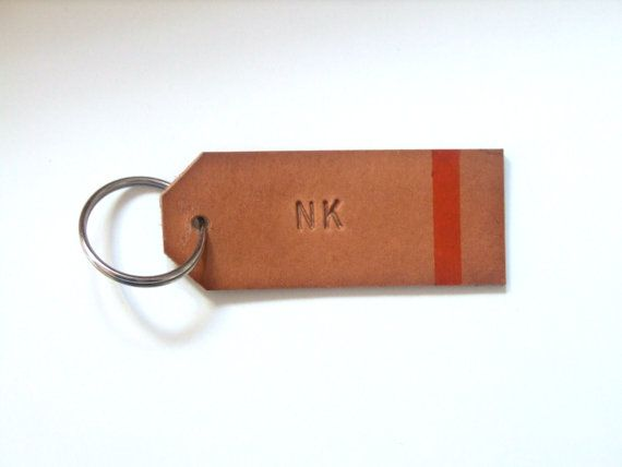 Personalized Leather Gift Tag for him. Great Christmas gift for him. Hand Stamped Leather Key Ring available on Etsy.