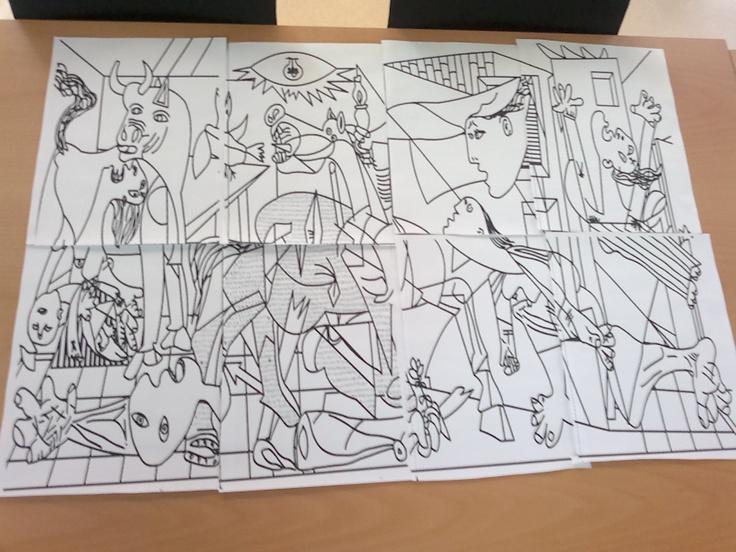 El guernica  de Picasso per pintar amb aquarel.les o ceres. Puzzle.
