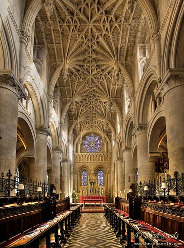 The 12th century church within Christ Church College is the Cathedral Church for the Diocese of Oxford. The photo is taken from the crossing looking toward the altar. The brightly coloured stained glass window on the east end of the cathedral is by Edward Burne-Jones and tells the story of St. Frideswide. Stone architecture is from the Norman period. The photo is a panorama stitched from two images and uses HDR to combine three exposures. Explore - highest position #186