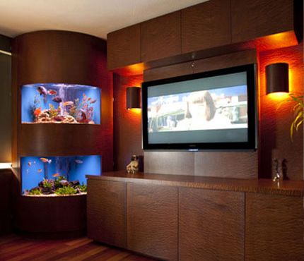 Aquarium idea for the living room. Always have liked/wanted some  type of corner aquarium with a bow front. This is an nice example. -rpm-