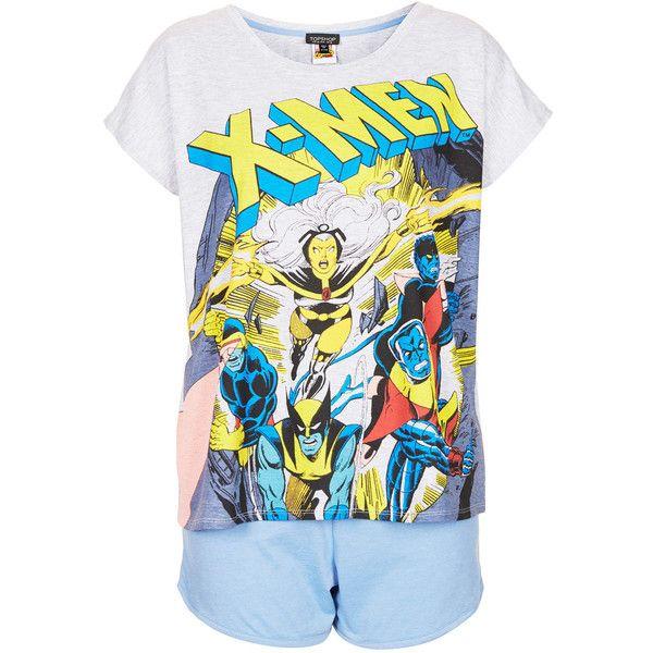 TOPSHOP X-Men Pyjama Set ($29) ❤ liked on Polyvore featuring intimates, sleepwear, pajamas, pijamas, pyjamas, tops, grey, cotton pajama set, cotton pyjamas and topshop