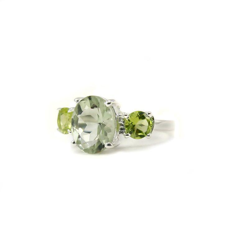 Сребърен пръстен с празиолит (зелен аметист) и перидоти | Tezzor.com