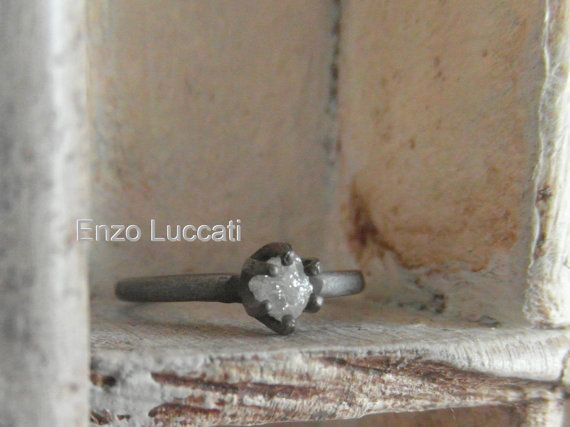 unconventional engagement ring-oxidized silver-raw rough diamond- one of a kind-alternative wedding