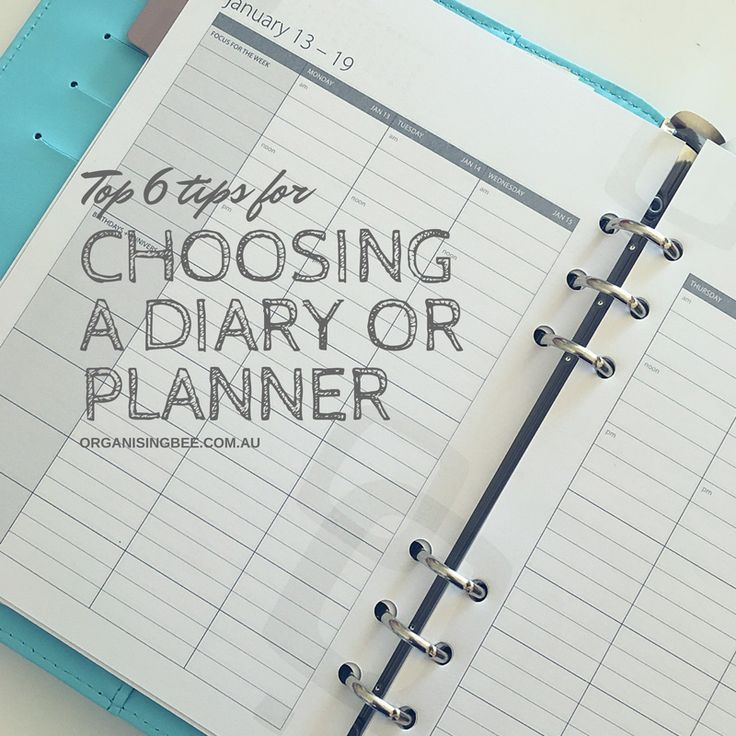 Top 6 tips for choosing a diary or planner