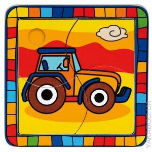 Деревянные пазлы Bino Трактор (88007)