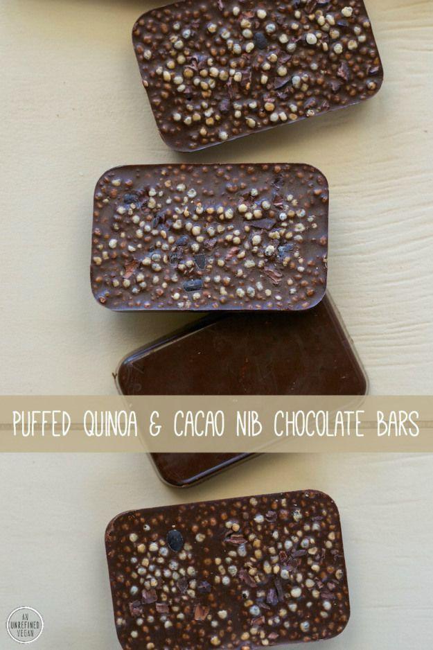 Sugar-free Vegan Puffed Quinoa & Cacao Nib Chocolate Bars by An Unrefined Vegan