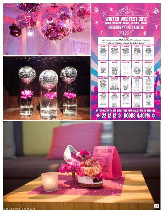 mariage musique disco decoration salle bole à facette affiche concert