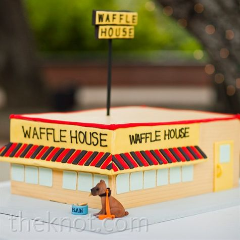 I'm a Southern girl, so I really appreciate this Waffle House groom's cake! It's a perfect replica. Such a creative idea. I wonder if it had waffles inside?