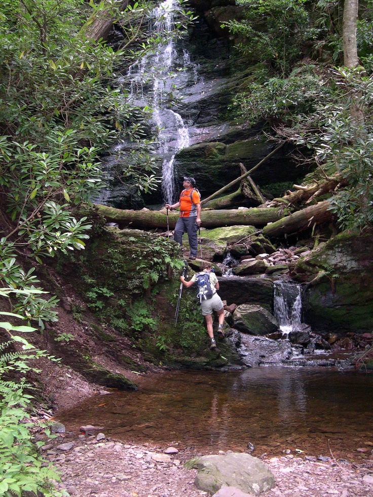 Steve, Helen, Marie-Laure and I bushwacked to the little known hidden falls on the eastern hill of Walpack Valley.