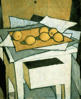 'Still Life with Lemons' (1950) by Italian painter Felice Casorati (1886-1963). collection: Palazzo Pitti Modern Art Gallery, Florence.