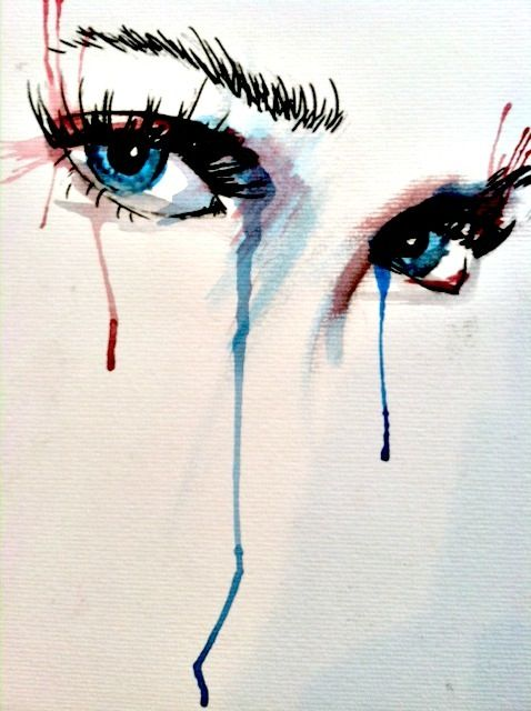 Blue Eyes by Gwen Begley, done in water color and ink.