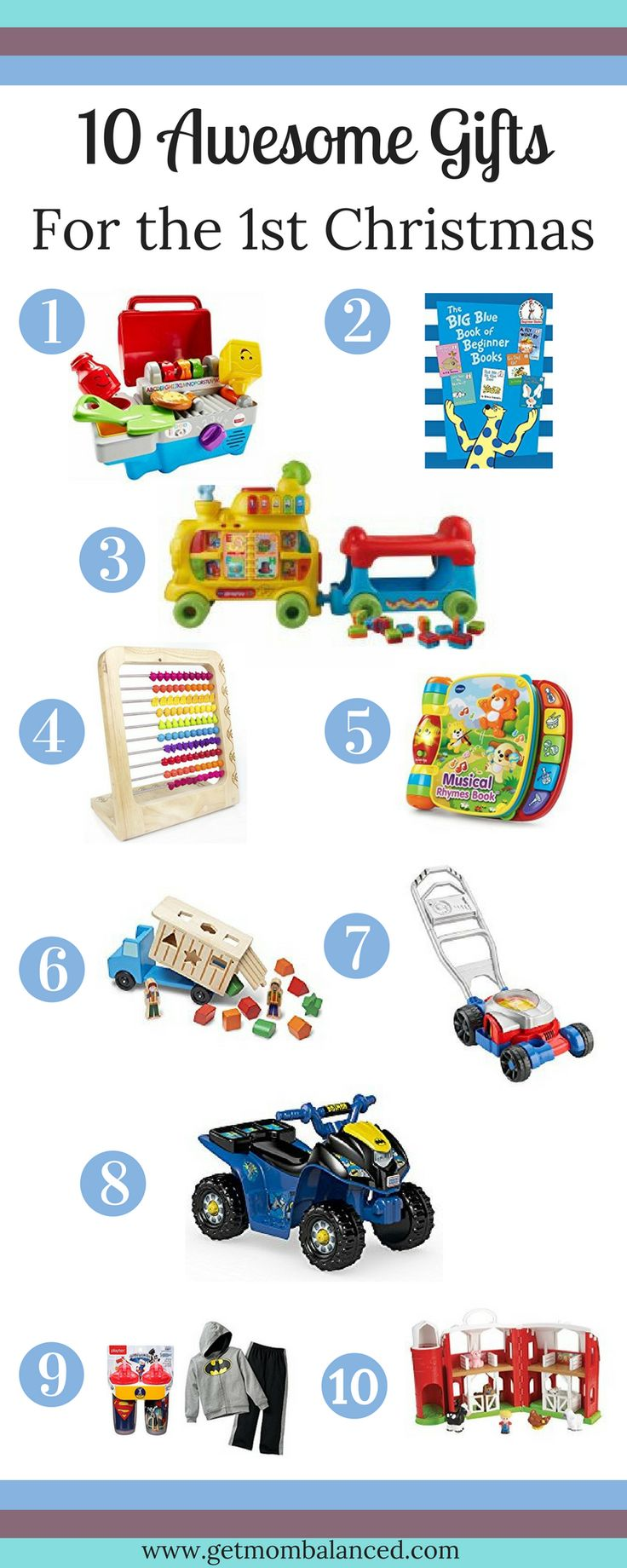 Not sure what to buy your 1-year-old? Check out this list of the best Christmas gifts for your little one's first Christmas! via Get Mom Balanced