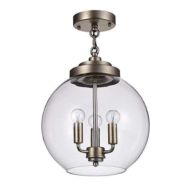 Luna Chrome Finish 3 Light Clear Glass Globe Iron Pendant Chandelier