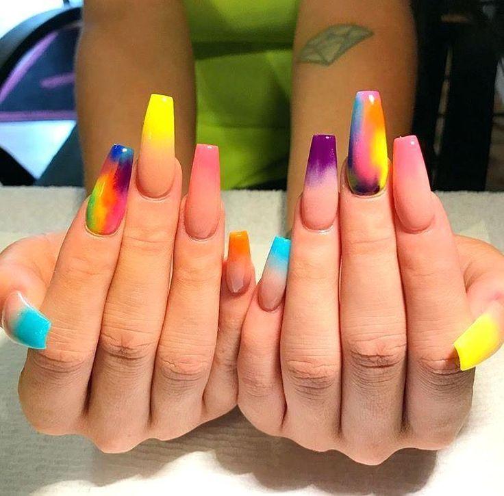 Long Coffin Acrylic Nails Orange Nail Polish Neon Shape Matte …