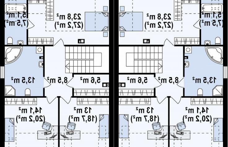 Projekt domu bliźniaczego Zb13 - rzut poddasza