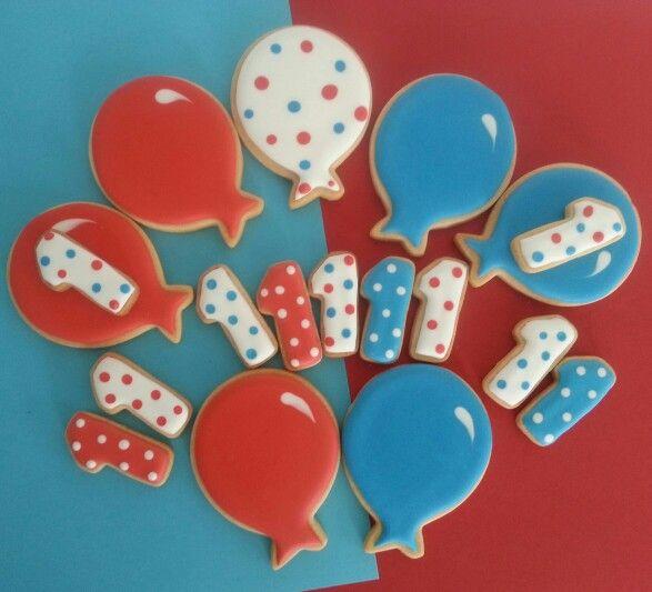Ballon en 1 jaar koekjes / Balloons for a 1 year old boy cookies