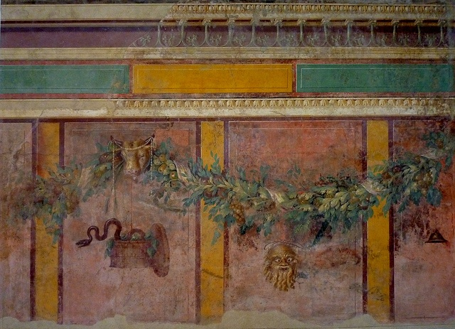 Roman wall painting with garlands, from the villa of P. Fannius Synistor at Boscoreale, Metropolitan Museum of Art by lreed76, via Flickr
