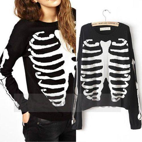 New-Europe-US-Women-Autumn-Skull-Skeleton-Bones-Printed-Casual-Sweater-Top-M108