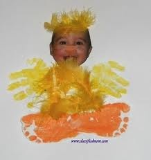 kid chick handprint craft activity farm week or easter