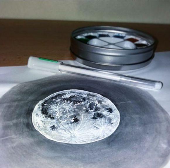 IG: @maggie_creates_ moon watercolor