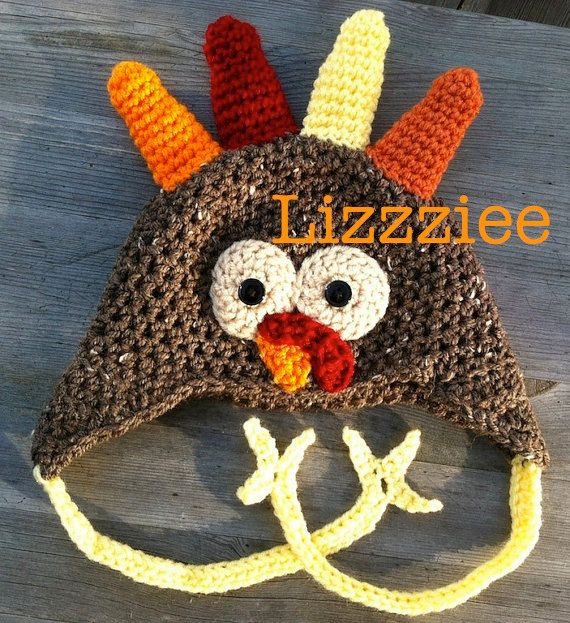 Turkey Crochet Hat PATTERN PDF  easy beanie or earflap by lizzziee, $3.99