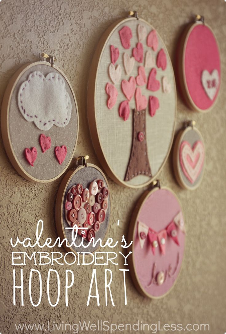 Valentines Day Embroidery Hoop Art.  These darling embroidery hoops make a fun & surprisingly easy craft to do with kids! A few simple stitches are all you need to learn to make almost any design.  Post includes a great little video tutorial!