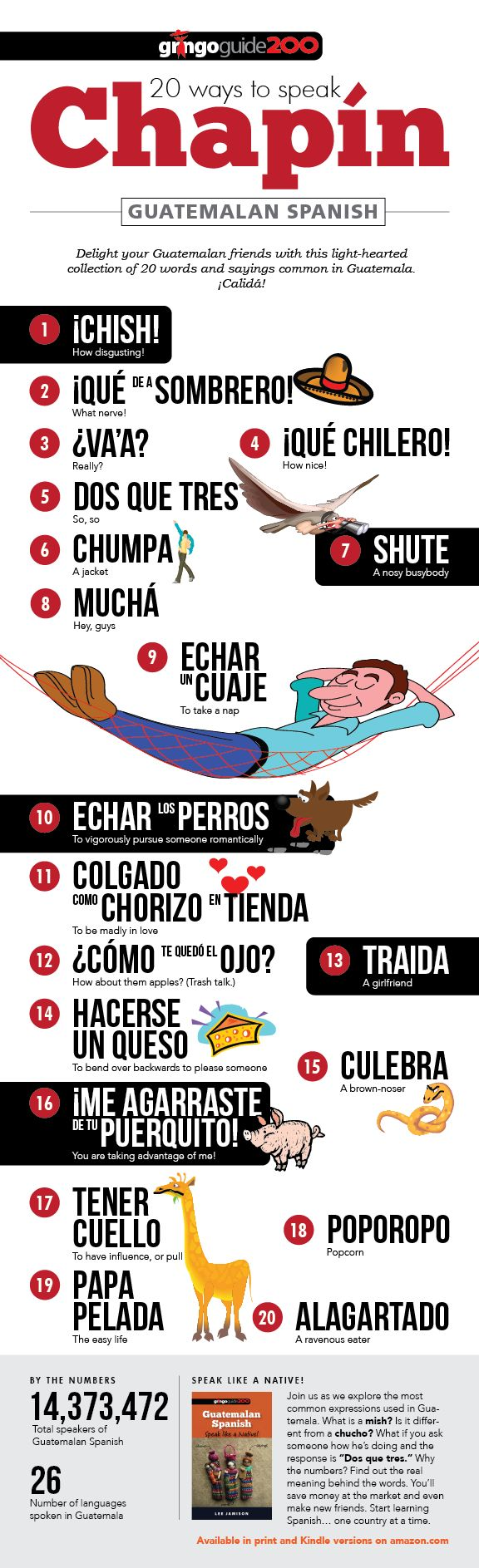 #Infographic 20 Ways to Speak Chapín | How can you make your Spanish more Guatemalan? The following infographic will get you started. Enjoy! #Guatemala @wendalynsanchez c'est vrai? (es verdad?)