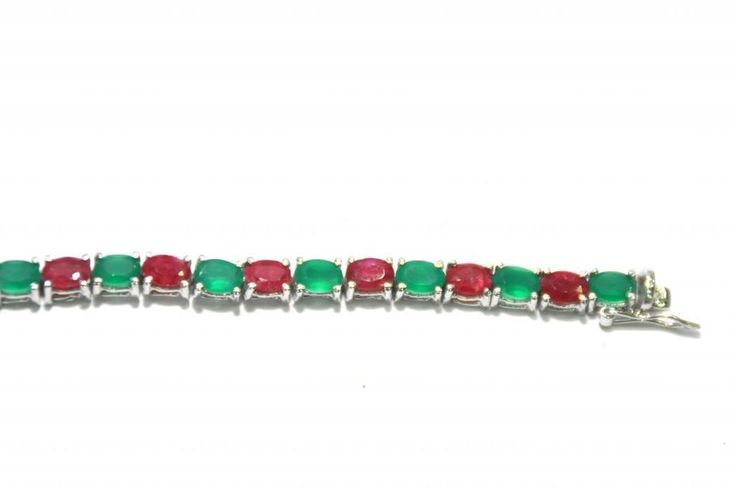 Natural Green Onyx/ Red Ruby Gemstone Bracelet 7.1 inches 925 Sterling Silver #Handmade