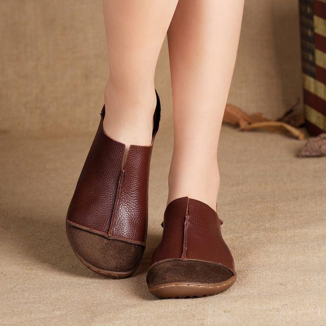 (35-42) Scarpe da Donna Plus Size Cuoio Genuino Scarpe Basse Casual Slip on Mocassini Donna Mocassini Mori ragazza di Stile (5188-1)