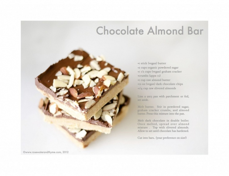 Vegan Chocolate Almond Bars from Rosewater & Thyme: Vegan Eating, Vegan Desserts, Chocolate Almond, Almond Butter, Vegan Chocolate, Eatie Yum Yum Vegan