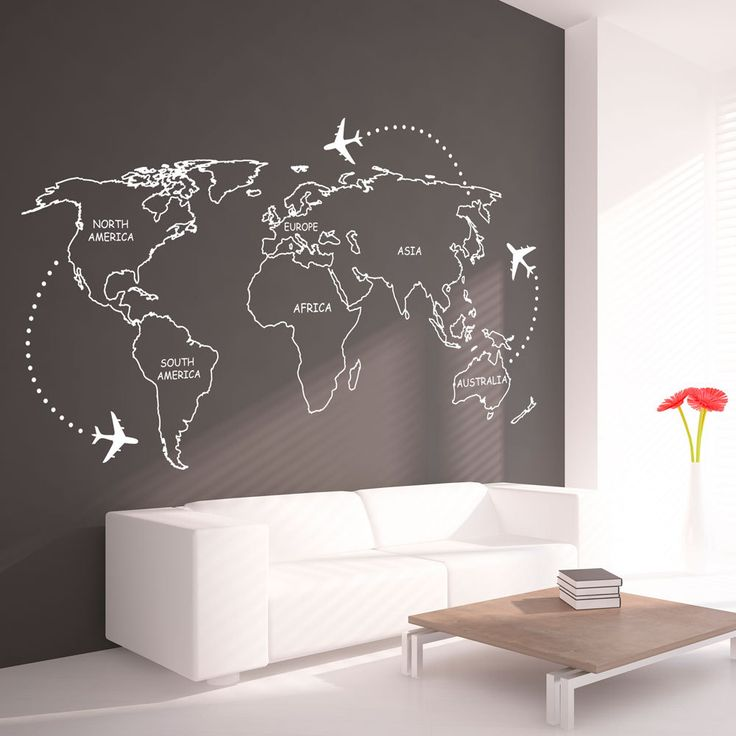 Charmant World Map Outlines With Continents Decal Large Por Homeartstickers