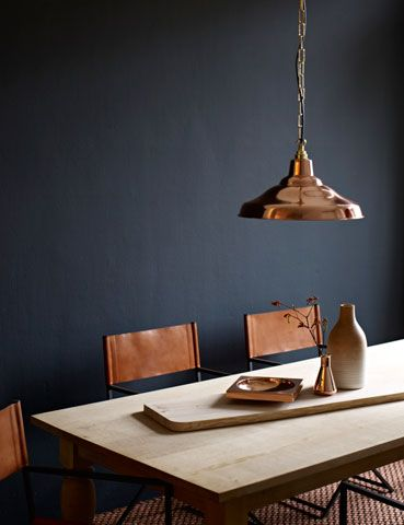 house and garden: Dining Rooms, Houses, Colors, Interiors Design, Copper Pendants, Copper Accent, Leather Chairs, Black Wall, Dark Wall