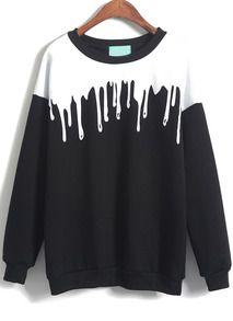 Black Long Sleeve Drop Patterned Print Loose Sweatshirt       http://www.shein.com/Black-Long-Sleeve-Drop-Print-Loose-Sweatshirt-p-196207-cat-1773.html