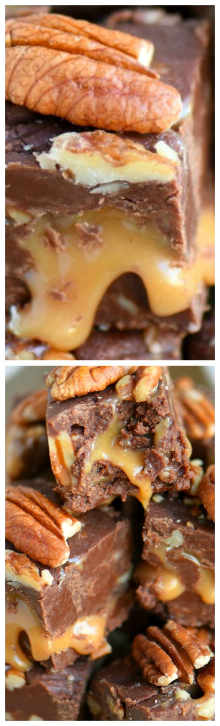 Triple Chocolate Turtle Fudge ~ Decadent and delicious... features three different types of chocolate and an ooey, gooey caramel center that is hard to resist! Great for gift giving and the holidays!