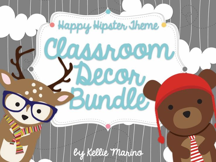 Classroom Decor Bundles ~ Happy hipster critters classroom decor bundle