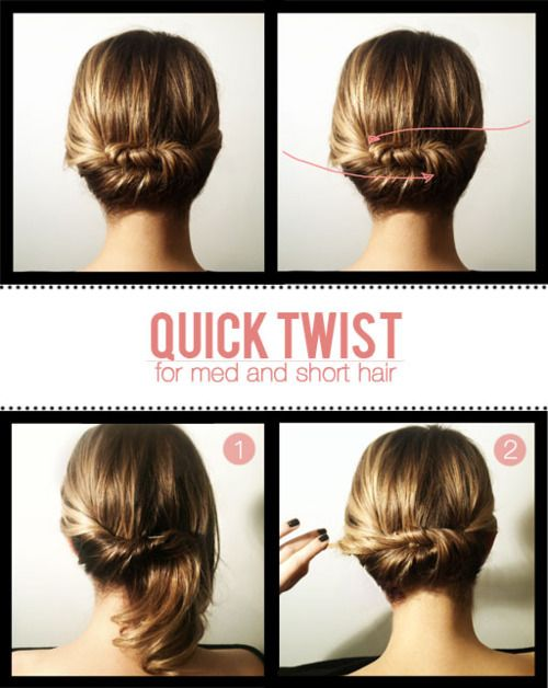 : Hair Ideas, Medium Length, Hair Twists, Quick Twists, Medium Hair, Hairstyle, Shorthair, Shorts Hair Style, Updo