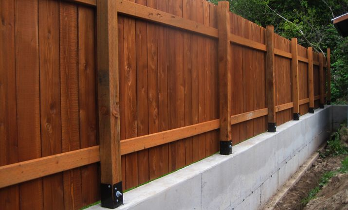 Fence Concrete Base Idea Landscaping Ideas Pinterest