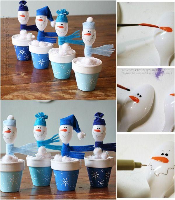 Lindo y fácil de Artesanía de Navidad: DIY cuchara de plástico Muñecos de nieve