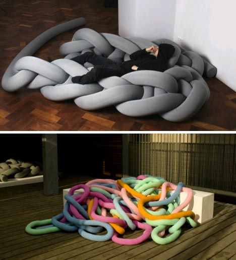 Seriously strange and out of scale, these soft furniture objects composed of super-sized thread nonetheless look extremely comfortable. And really, at these proportions even a beginner could 'sew' something together.    From pseudo-sofas to ersatz sleeping mats, these colorful creations by Bauke Knottnerus are composed of all different sizes of flexible noodle-like strands of various colors.