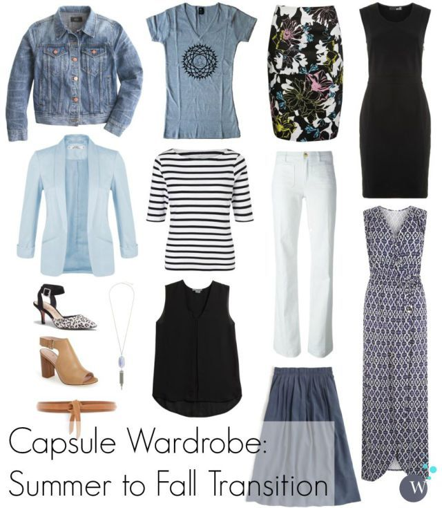 Capsule Wardrobe: Transitioning from Summer to Fall with help from a denim jacket. Via Wardrobe Oxygen