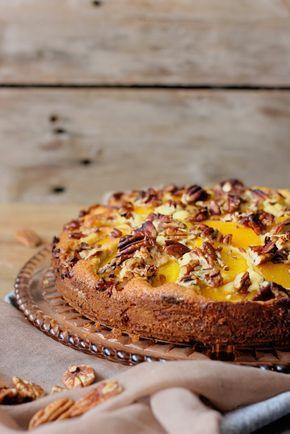 Pfirsich Vanille Kuchen mit Butterscotch Soße