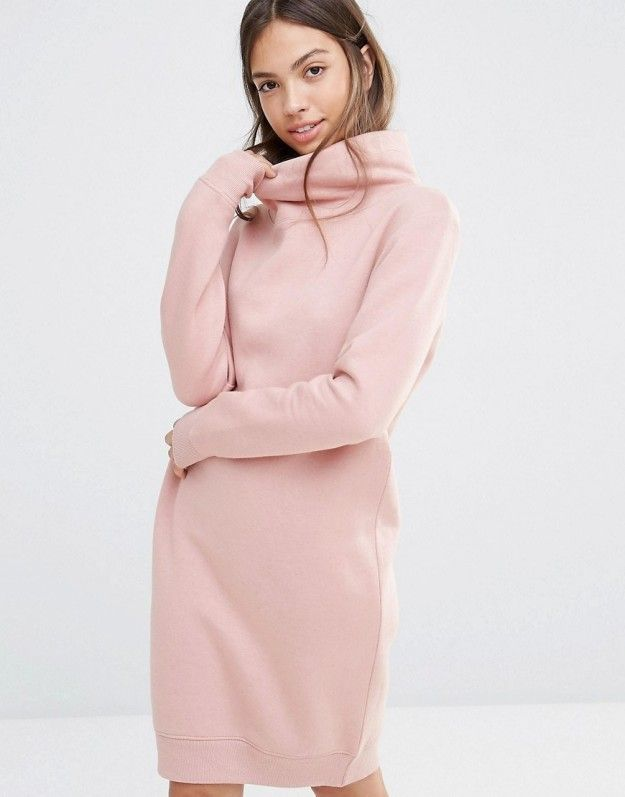A cozy pastel sweatshirt dress with a cowl neck. | 30 Beautiful And Inexpensive Dresses You'll Want To Wear Every Day