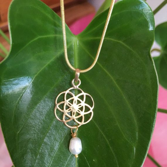 Gold Vermeil Flower of Life Freshwater Pearl Necklace Sacred
