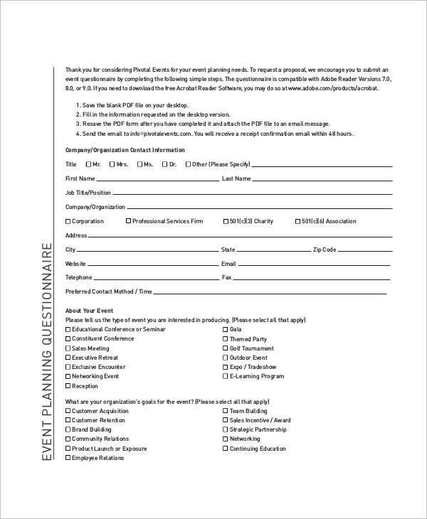 Event Planning Questionnaire Template Inspirational 54 Questionnaire Samples Pdf Word Pages Questionnaire Template Survey Template How To Memorize Things