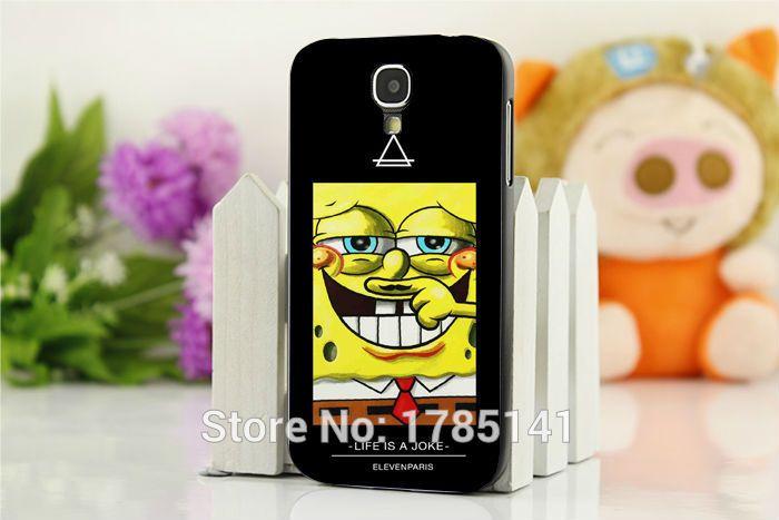 New 1pcs Coque eleven paris Cartoon Moustache cute Sponge bob hard black Case for Galaxy Samsung S4 (I9500) S5 (I9600) Retail