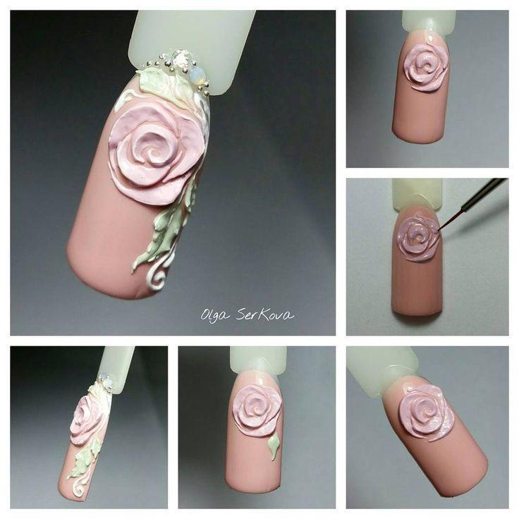 этот дизайн ногтей розы фото пошагово как