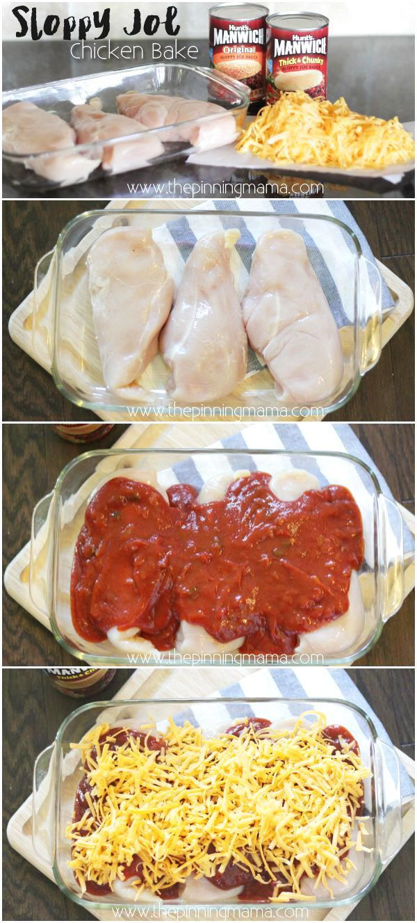 One dish. 3 ingredients. Easy and Kid Friendly Dinner Recipe. Sloppy Joe chicken bake by www.thepinningmama.com