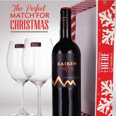 THE PERFECT MATCH FOR CHRISTMAS IS IN VINOTECA    -Kaiken Ultra Cabernet Sauvignon 750 ml  -2 Copas Riedel Wine Cabernet Sauvignon