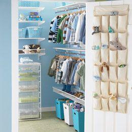 This just gives me some ideas for Jairus' closet....: Boys Closet, Kid Closet, White Elfa, Kids Closet, Closet Organizations, Kidscloset, Closet Ideas, Walks In Closet, Kids Rooms