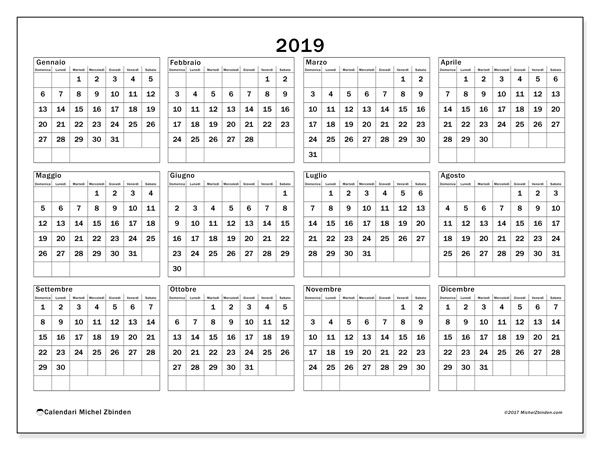Calendario Da Stampare 2020 Gratis.Calendario 2019 34ds Scrapbook Calendario Stampabile